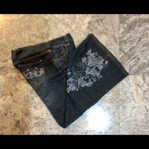Venezia Black Jeans w Imprinted & Embroidered Leg